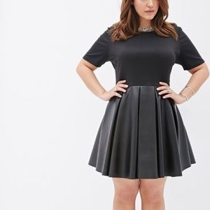 Forever 21 Plus Black Fit & Flare Leather Dress 3X